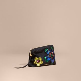 Burberry Large Zip-top Floral Embellished Pouch $250 thestylecure.com