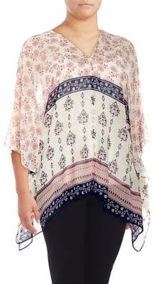 Vince Camuto Plus Wildflower Tile Flutter Blouse