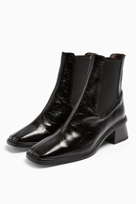 Topshop MIA Leather Black Chelsea Boots