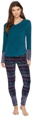 Lucky Brand Printed Microfleece Pajama Set Women's Pajama Sets