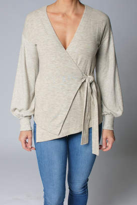 Heather Ember Wrap Front Sweater