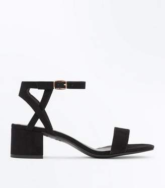 New Look Girls Black Suedette Block Heel Sandals