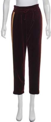 Mother Straight-Leg Cropped Velour Pants w/ Tags