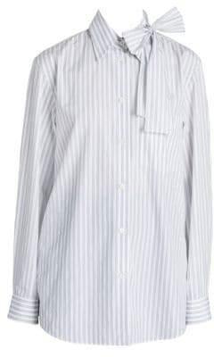 Prada Striped Bow Necktie Shirt