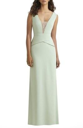 Women's Social Bridesmaids Lace Inset V-Neck Peplum Detail Gown $220 thestylecure.com