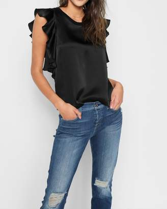 7 For All Mankind Satin Ruffle Tank in Black