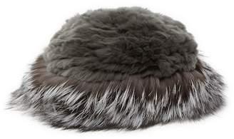 Surell Genuine Rex Rabbit Fur Crown Hat