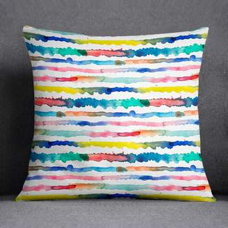 Giant Sparrows Abstract Watercolour Cushion Gradient Lines Laura Munoz