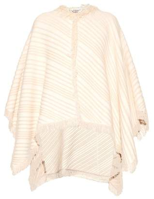 Sonia Rykiel Diagonal Knit Cotton Blend Poncho - Womens - White