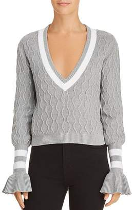 The Fifth Label Graduate Cable-Knit Cropped Sweater