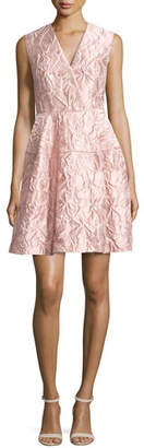 Talbot Runhof Nomotion Sleeveless Poppy Relief Cloqué Cocktail Dress, Pink