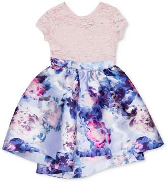 Speechless Toddler Girls Glitter-Lace Floral-Print Dress