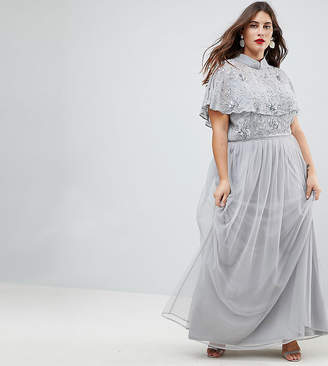 Frock and Frill Plus Frock And Frill Plus Premium Embellished Top High Neck Maxi Dress