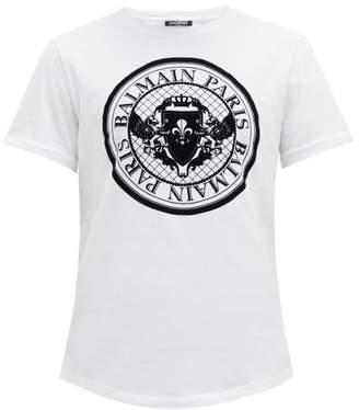 cfb962bb Balmain Flocked Logo Cotton T Shirt - Mens - White