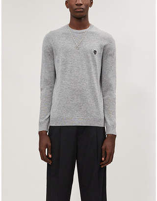 The Kooples Skull-appliqué wool-blend knitted jumper
