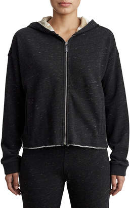 True Religion WOMENS HEATHERED TWO TONE ZIP UP HOODIE