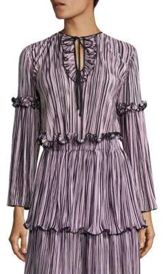 Romance Was Born Queen of the Night Blossoming Pleated Top