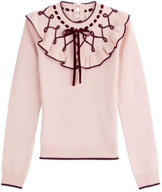 Roksanda Wool-Cashmere Pullover with Ruffles