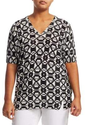 Marina Rinaldi Marina Rinaldi, Plus Size Black& White Printed Sweater