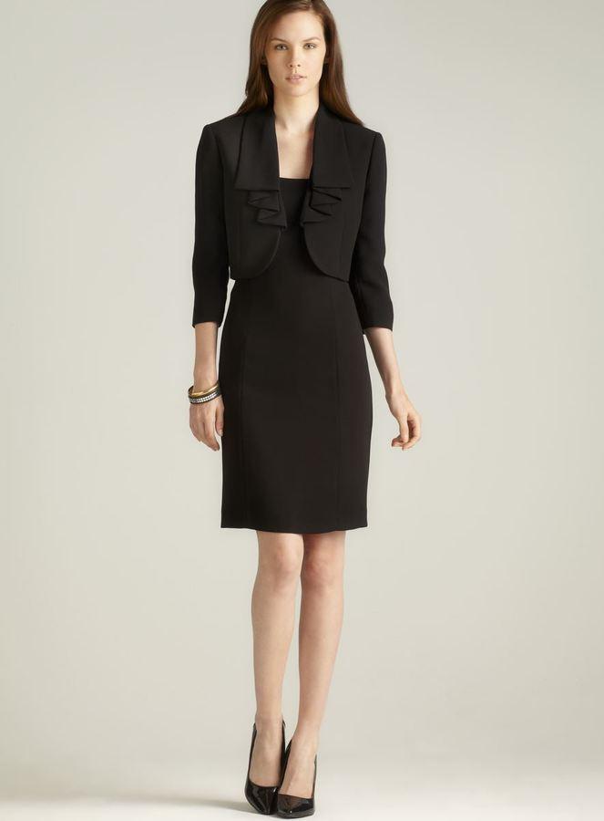 Tahari Ruffle Lapel Jacket Dress