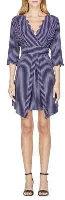 Adelyn Rae Emrata Striped Scallop V-Neck Dress