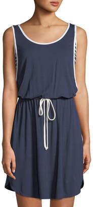 Neiman Marcus Tie-Waist Side-Striped Jersey Dress