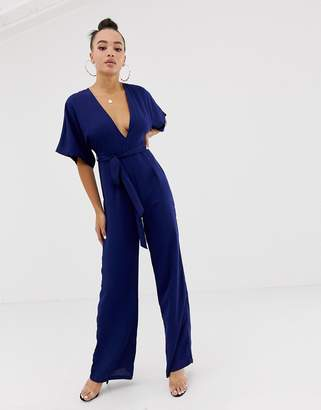 Missguided belted kimono jumpsuit in navy