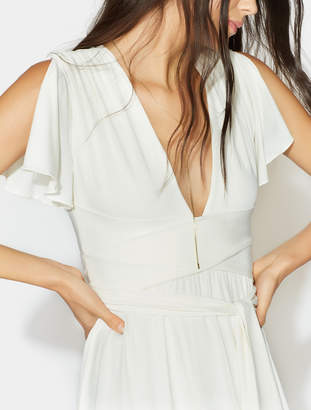 Halston Flutter Sleeve Wrap Jersey Gown