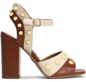 Michael Kors Studded Two-Tone Leather Sandals