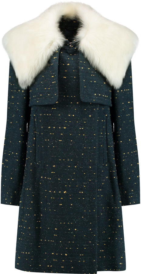 Chloé Chloé Shearling-trimmed slub wool-blend coat