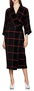 Zero Maria Cornejo Women's Oki Checked Velour Wrap Dress - Black