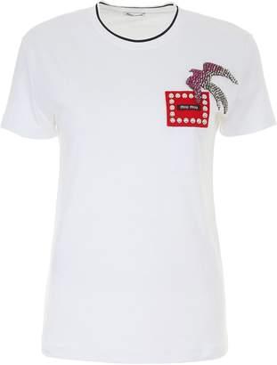 Miu Miu Crystal Swallow T-shirt