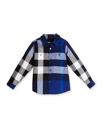 Burberry Camber Poplin Check Shirt, Bright Navy Blue, Size 4-14 $150 thestylecure.com