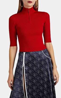 Marine Serre Women's Rib-Knit Quarter-Zip Top - Red