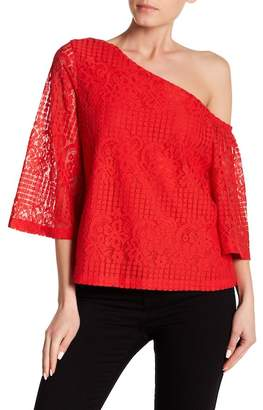 Laundry by Shelli Segal Asymmetrical Sleeve Lace Top