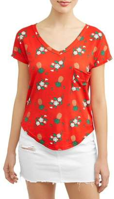 Poof! Juniors' Pineapple Print Pocket Boyfriend T-Shirt