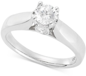 Hearts.Arrows.Together TruMiracle Diamond Solitaire Engagement Ring (5/8 ct. t.w.) in 14k White Gold