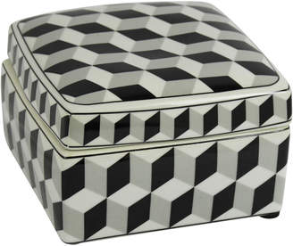 Sagebrook Home Black/White Square Ceramic Box