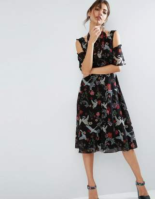Asos Design Midi Dress with Cold Shoulder and Lace Detail in Black Swan Print
