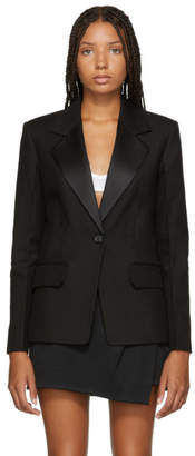 Helmut Lang Black Shiny Lapel Canvas Blazer