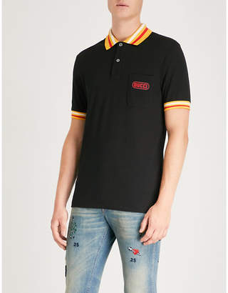 Gucci Logo-print cotton-piqué polo shirt