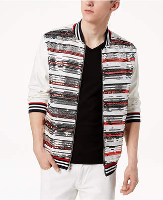 INC International Concepts I.n.c. Men's Track Star Sequin Stripe Faux-Leather Bomber Jacket, Created for Macy's