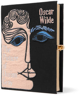 Olympia Le-Tan Dorian Gray Appliquéd Embroidered Canvas Clutch - Pink