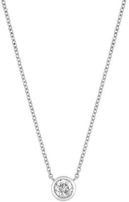 Bony Levy 14K White Gold Bezel Set Diamond Solitaire Pendant Necklace - 0.37 ctw