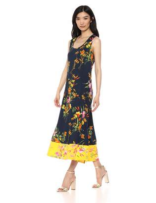 MSK Women's Long Maxi Dress with Color Blocked Floral Print
