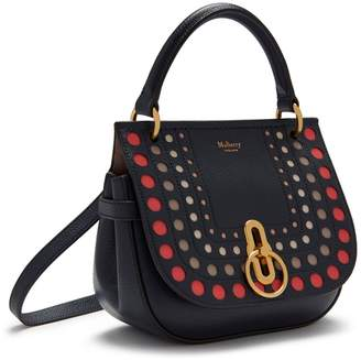 Mulberry Small Amberley Satchel Midnight Smooth Calf Perforated Dots