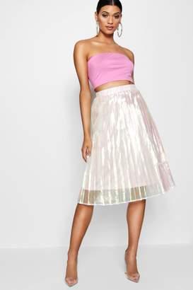 8680037c44 boohoo Woven Irredesent Pleated Midi Skirt
