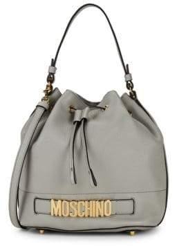 Moschino Logo Cinched Leather Crossbody Bag