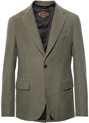 Tod's Green Cotton-Moleskin Suit Jacket