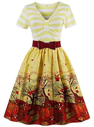 Ladyjiao Women's Vintage Dresses with Short Sleeve Floral Evening Cocktail Gown 4XL